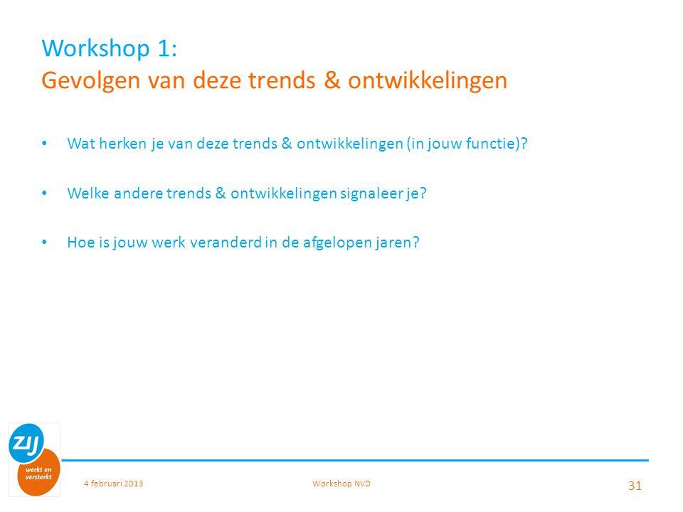 Workshop 1: Gevolgen van deze trends & ontwikkelingen