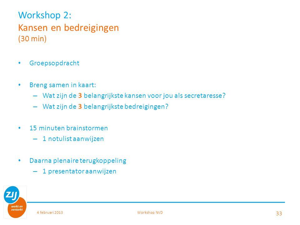 Workshop 2: Kansen en bedreigingen (30 min)