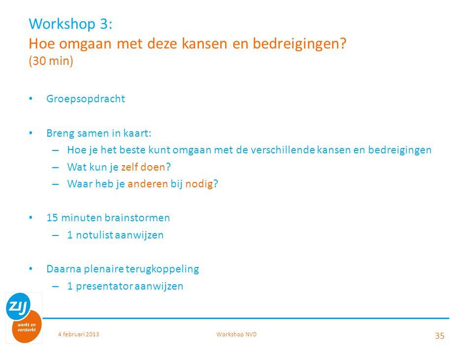 Workshop 3: Hoe omgaan met deze kansen en bedreigingen (30 min)