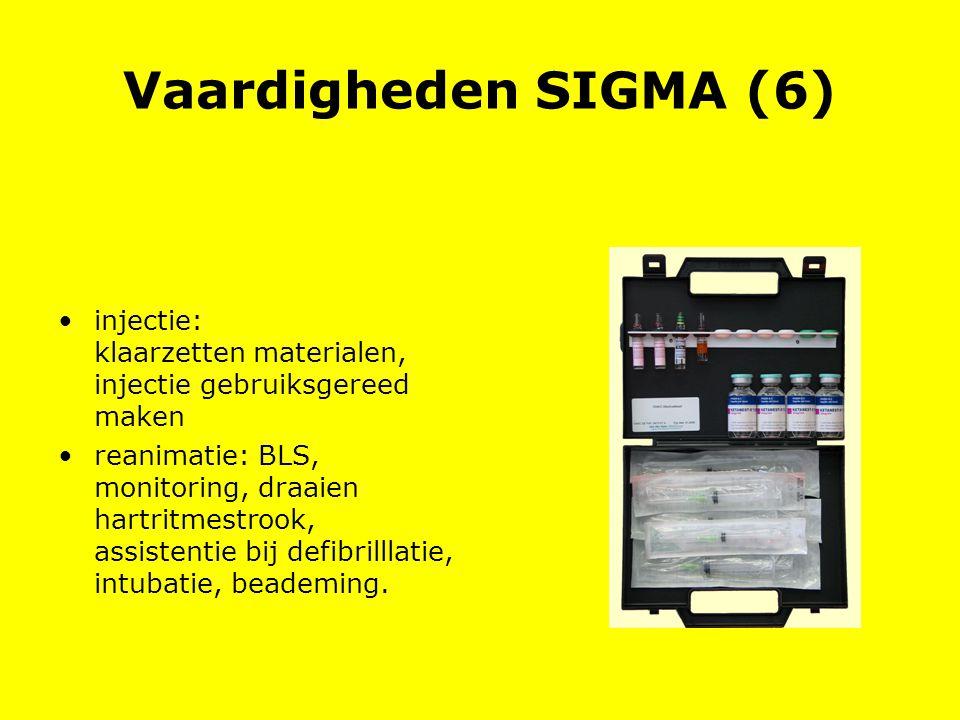 Vaardigheden SIGMA (6) injectie: klaarzetten materialen, injectie gebruiksgereed maken.