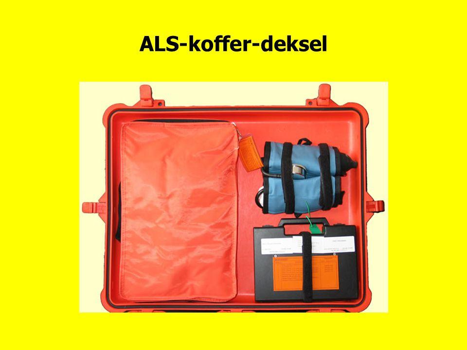 ALS-koffer-deksel Bovenaanzicht, tweemaal drukzak, verbandpakket en medicatieset.