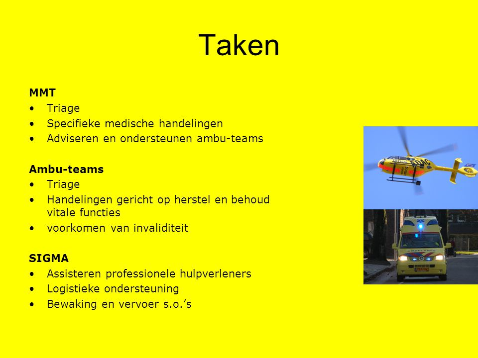 Taken MMT Triage Specifieke medische handelingen