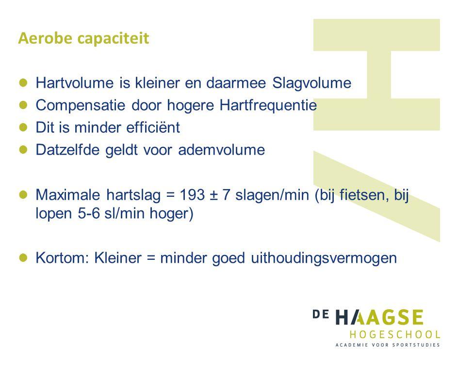Aerobe capaciteit Hartvolume is kleiner en daarmee Slagvolume