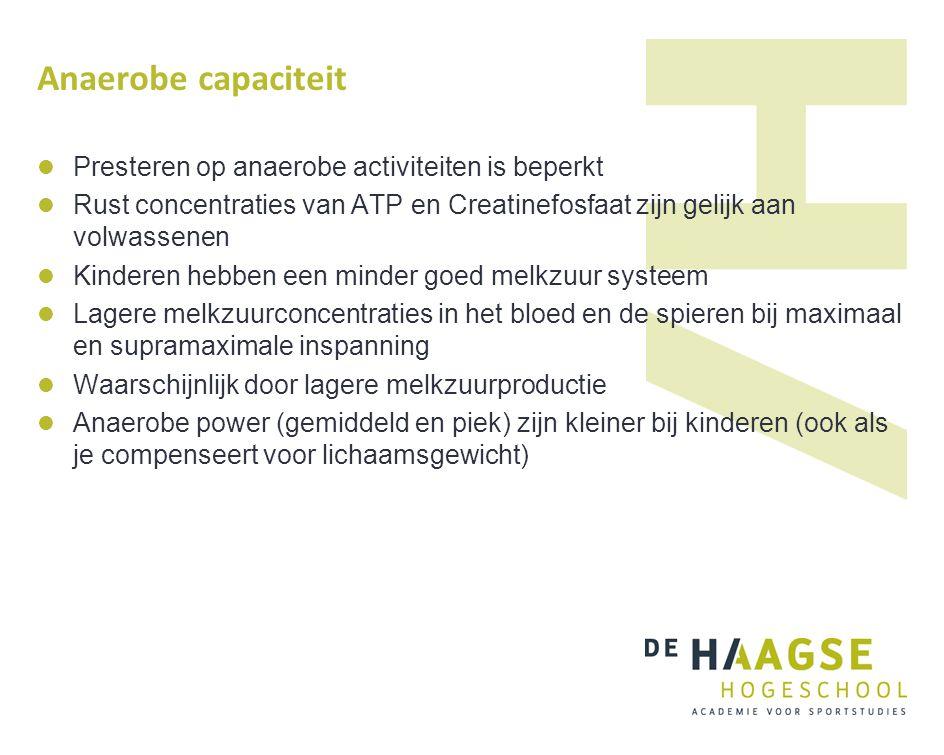 Anaerobe capaciteit Presteren op anaerobe activiteiten is beperkt