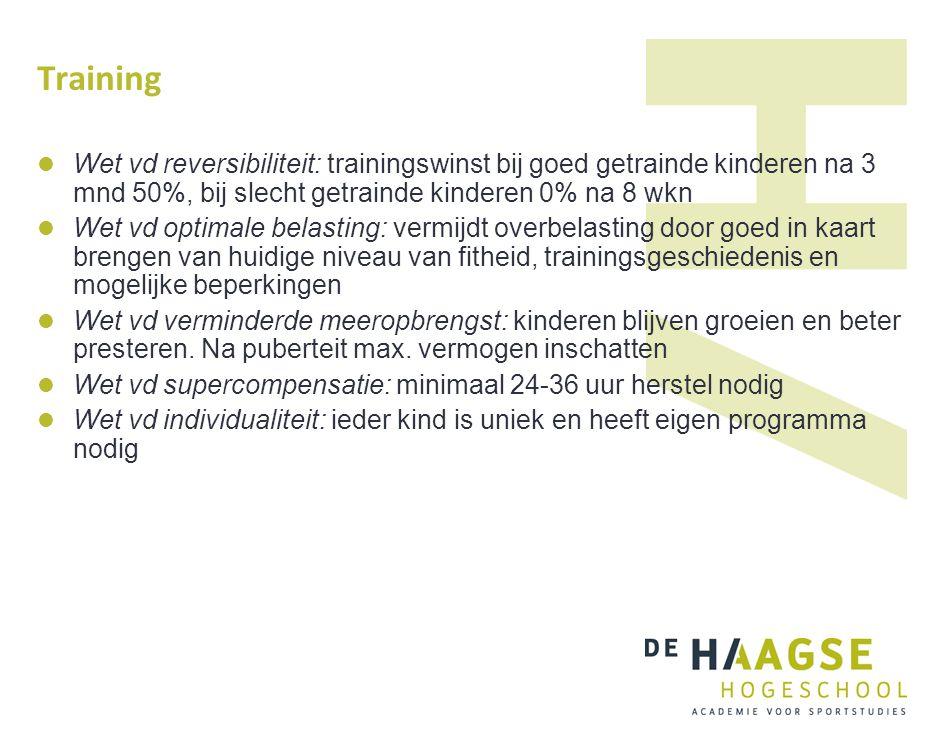 Training Wet vd reversibiliteit: trainingswinst bij goed getrainde kinderen na 3 mnd 50%, bij slecht getrainde kinderen 0% na 8 wkn.