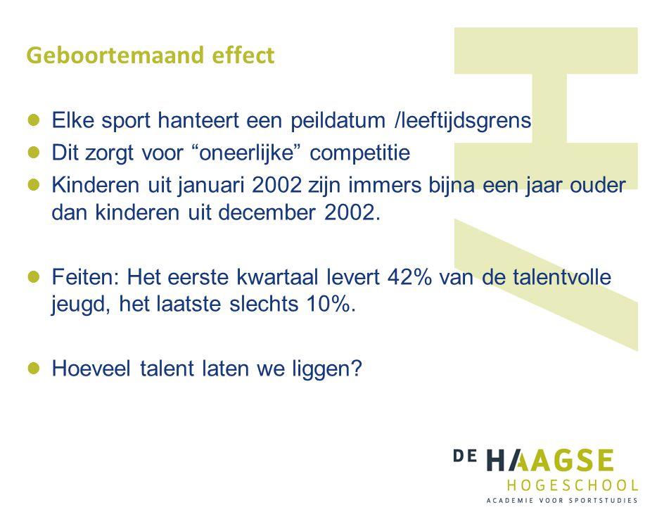 Geboortemaand effect Elke sport hanteert een peildatum /leeftijdsgrens
