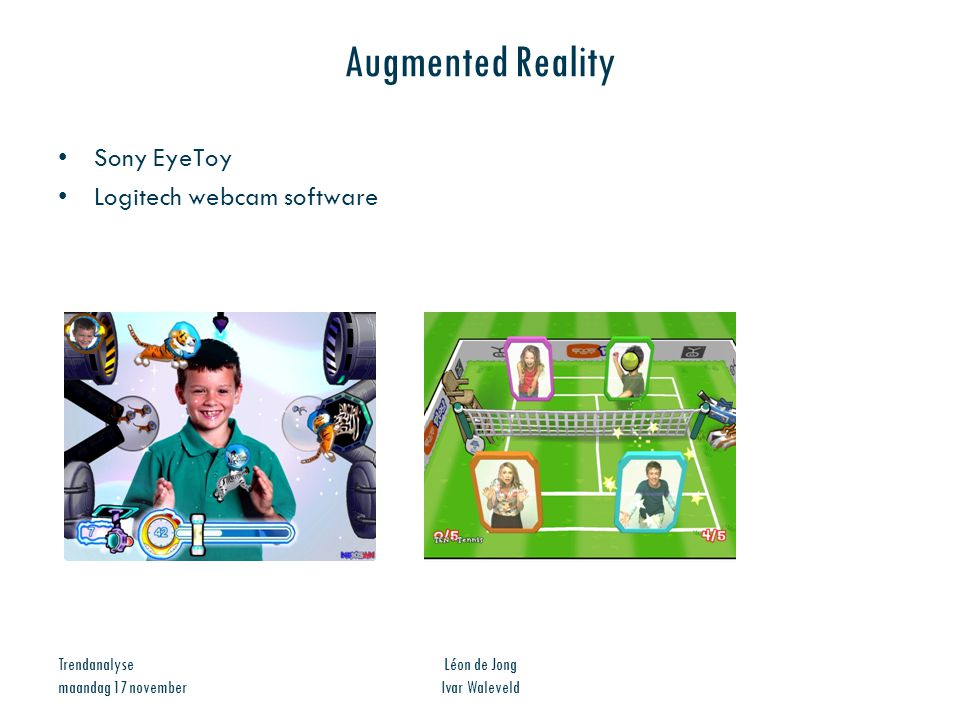 Augmented Reality Sony EyeToy Logitech webcam software Trendanalyse