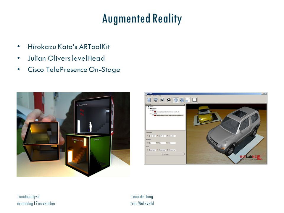 Augmented Reality Hirokazu Kato's ARToolKit Julian Olivers levelHead