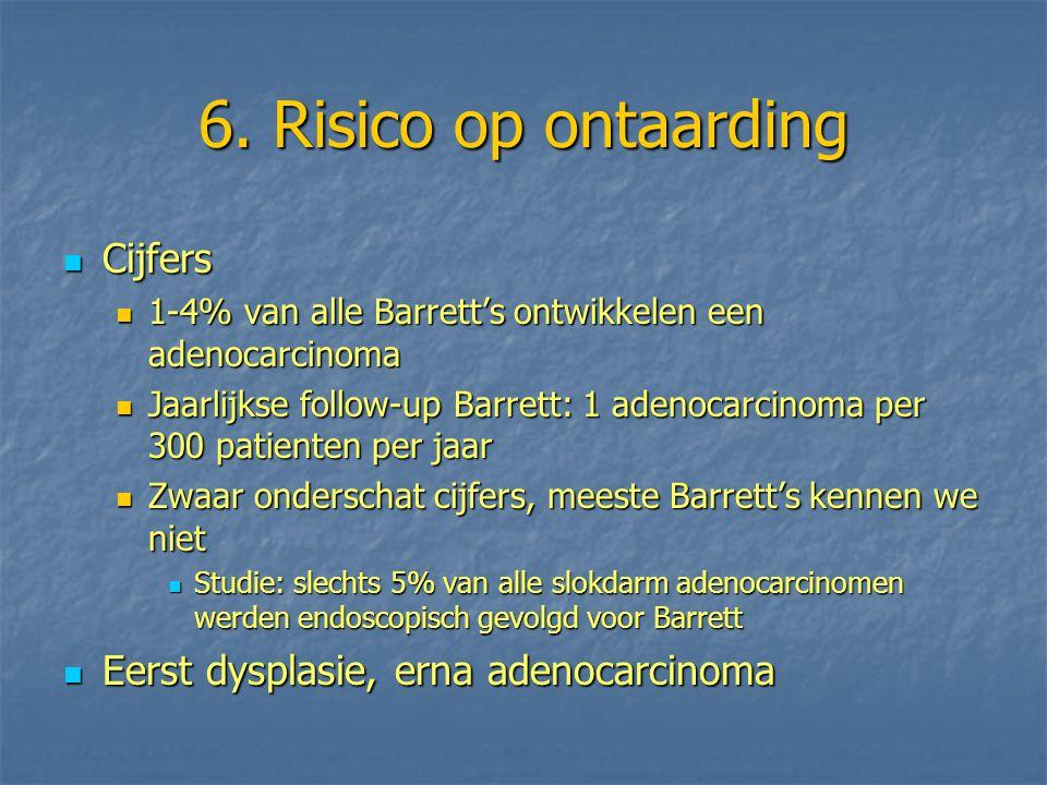 6. Risico op ontaarding Cijfers Eerst dysplasie, erna adenocarcinoma