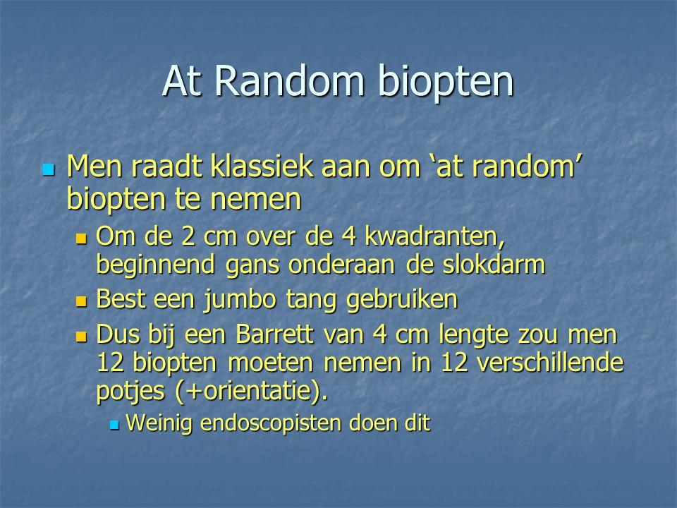 At Random biopten Men raadt klassiek aan om 'at random' biopten te nemen. Om de 2 cm over de 4 kwadranten, beginnend gans onderaan de slokdarm.