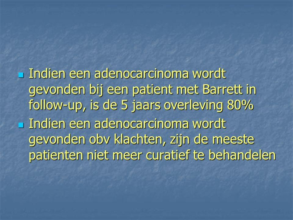 Indien een adenocarcinoma wordt gevonden bij een patient met Barrett in follow-up, is de 5 jaars overleving 80%