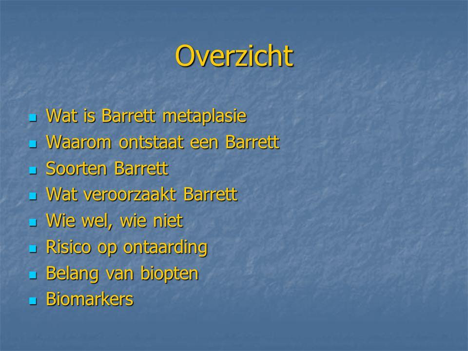 Overzicht Wat is Barrett metaplasie Waarom ontstaat een Barrett