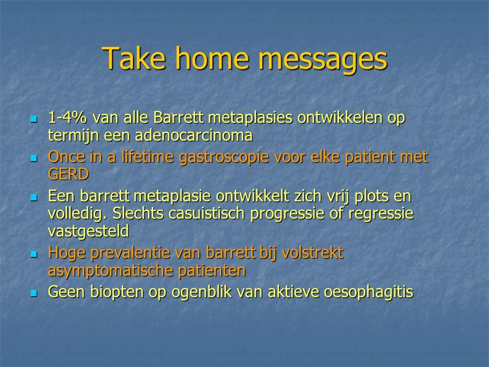 Take home messages 1-4% van alle Barrett metaplasies ontwikkelen op termijn een adenocarcinoma.