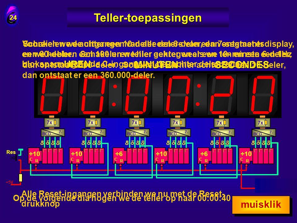 Teller-toepassingen UREN MINUTEN SECONDES muisklik muisklik