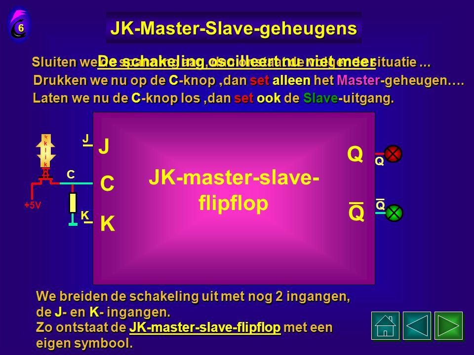 JK-Master-Slave-geheugens De schakeling oscilleert nu niet meer