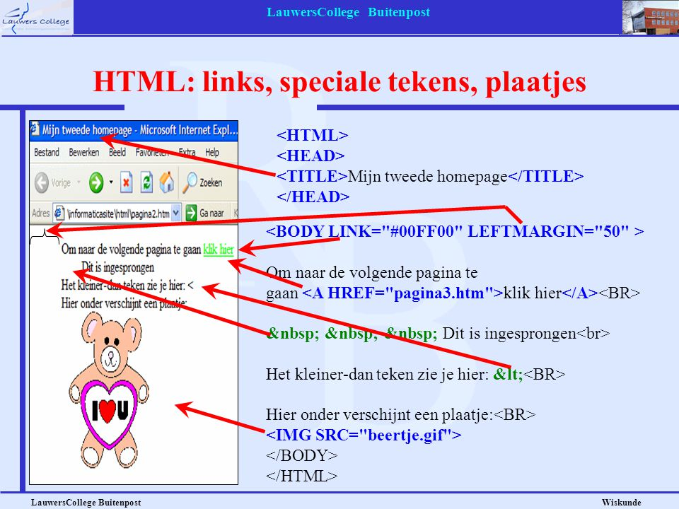 HTML: links, speciale tekens, plaatjes