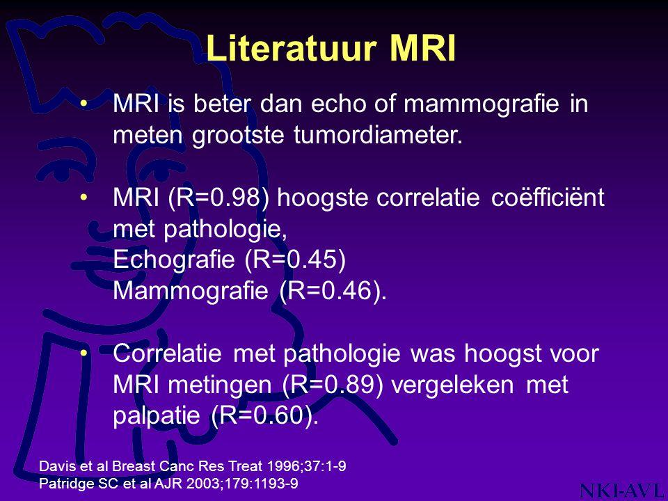 Literatuur MRI MRI is beter dan echo of mammografie in meten grootste tumordiameter. MRI (R=0.98) hoogste correlatie coëfficiënt met pathologie,