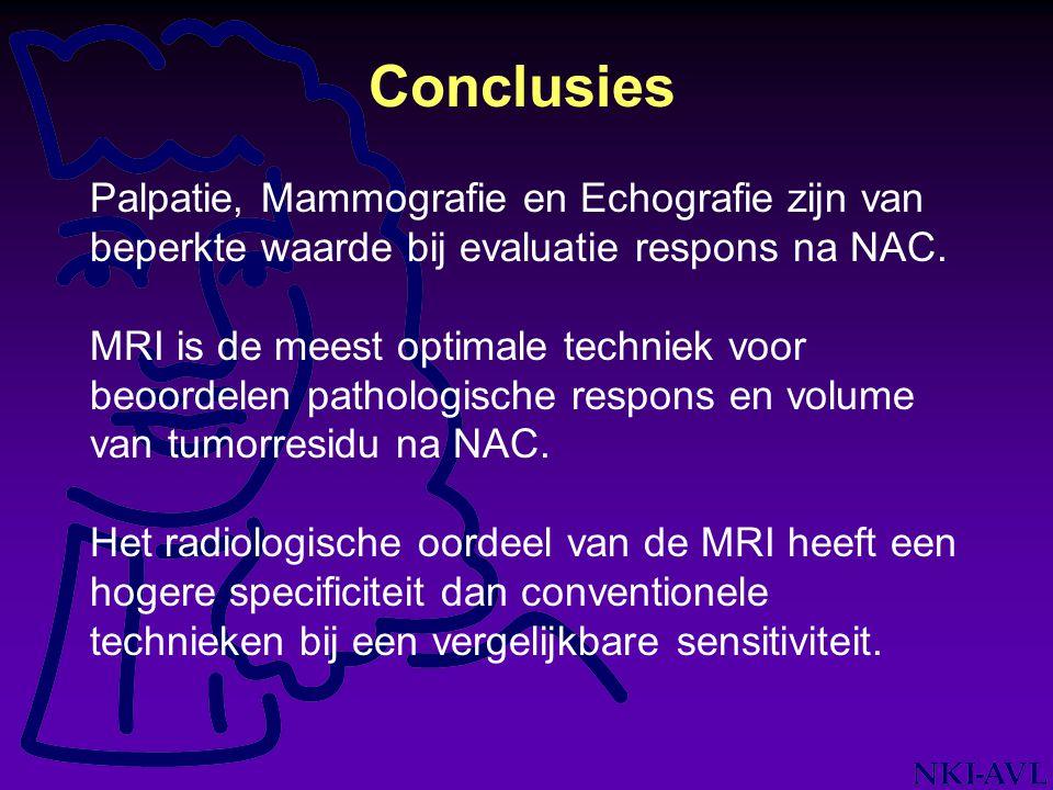 Conclusies Palpatie, Mammografie en Echografie zijn van beperkte waarde bij evaluatie respons na NAC.