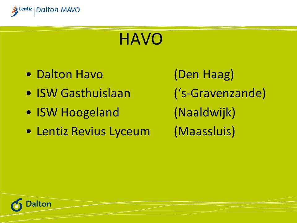 HAVO Dalton Havo (Den Haag) ISW Gasthuislaan ('s-Gravenzande)