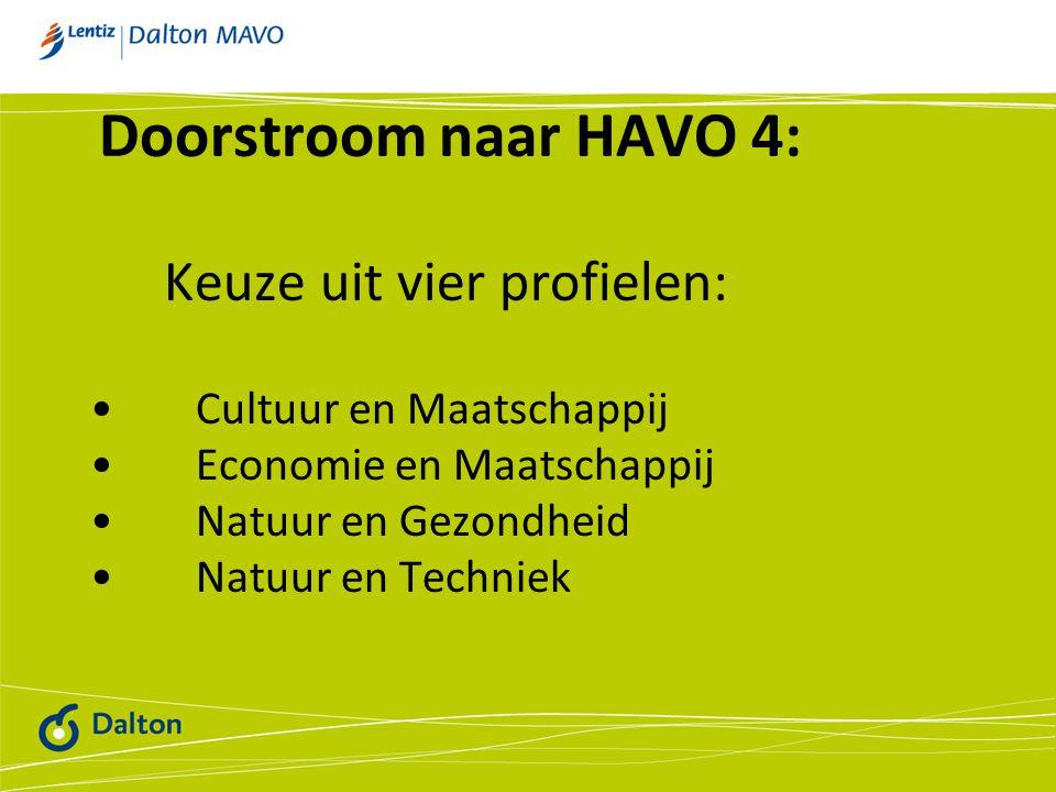 Doorstroom naar HAVO 4: Cultuur en Maatschappij