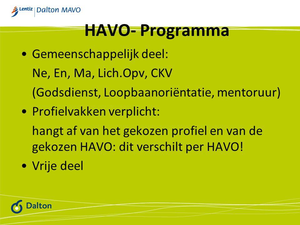 HAVO- Programma Gemeenschappelijk deel: Ne, En, Ma, Lich.Opv, CKV