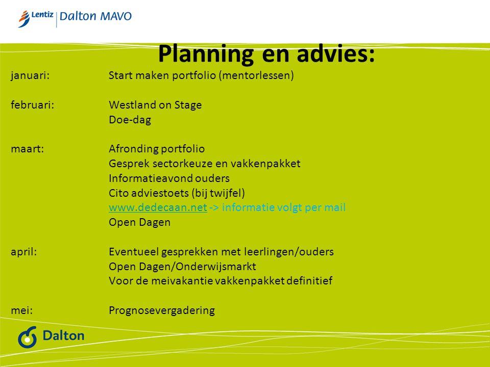 Planning en advies: januari: Start maken portfolio (mentorlessen)