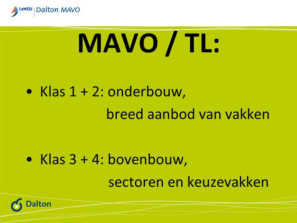 MAVO / TL: Klas 1 + 2: onderbouw, breed aanbod van vakken