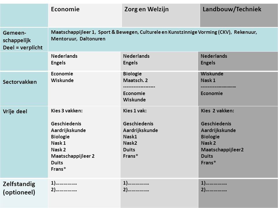 Economie Zorg en Welzijn Landbouw/Techniek Zelfstandig (optioneel)