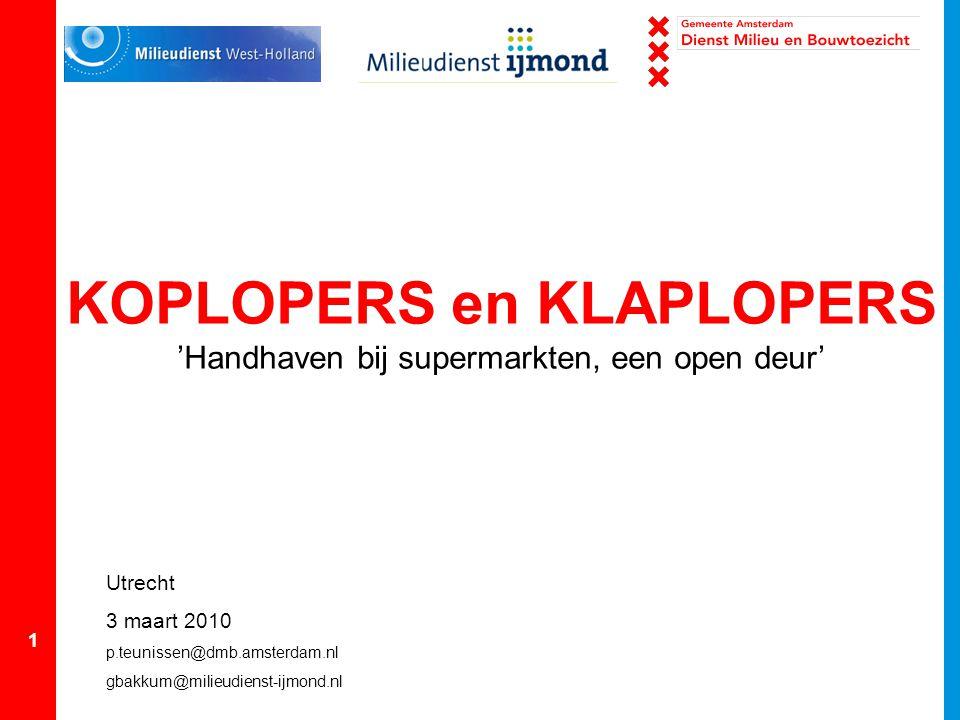 KOPLOPERS en KLAPLOPERS 'Handhaven bij supermarkten, een open deur'