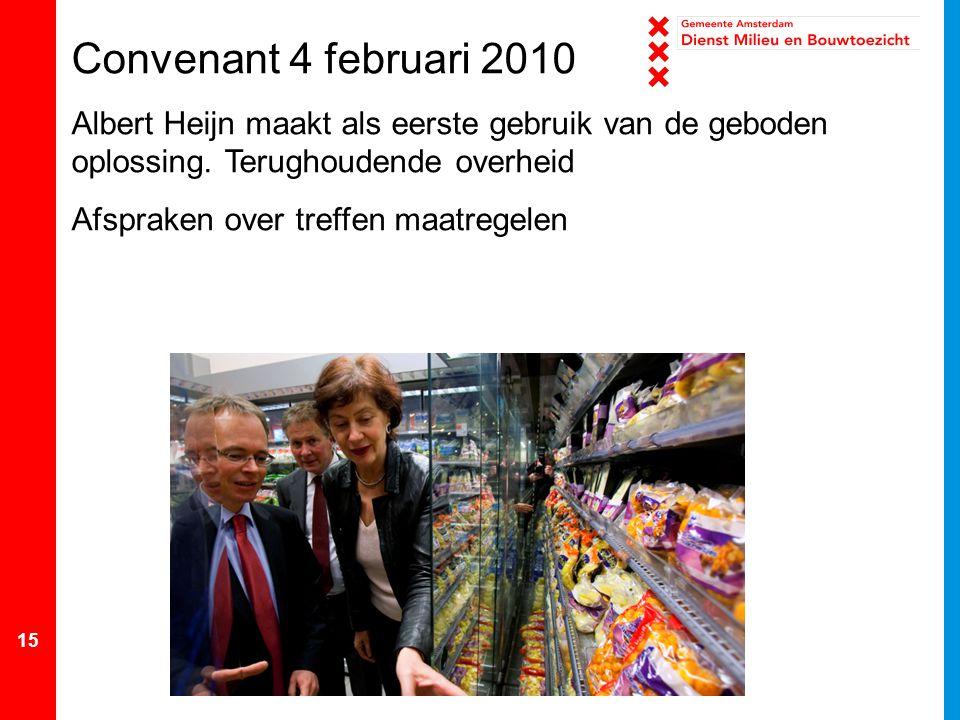 Convenant 4 februari 2010 Albert Heijn maakt als eerste gebruik van de geboden oplossing. Terughoudende overheid.