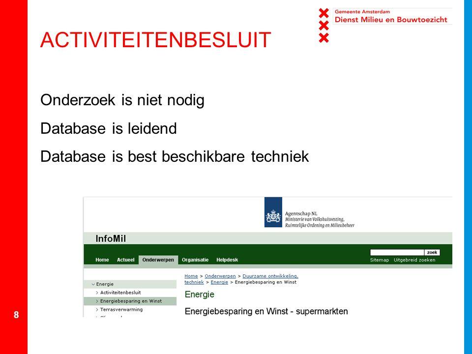 ACTIVITEITENBESLUIT Onderzoek is niet nodig Database is leidend