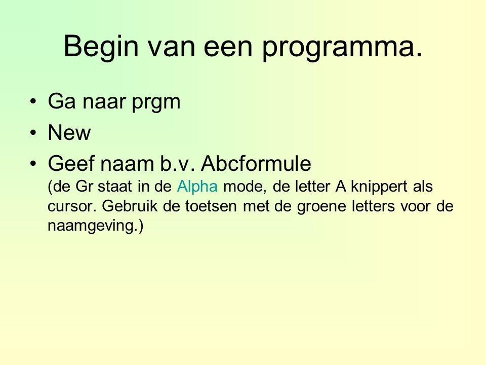 Begin van een programma.