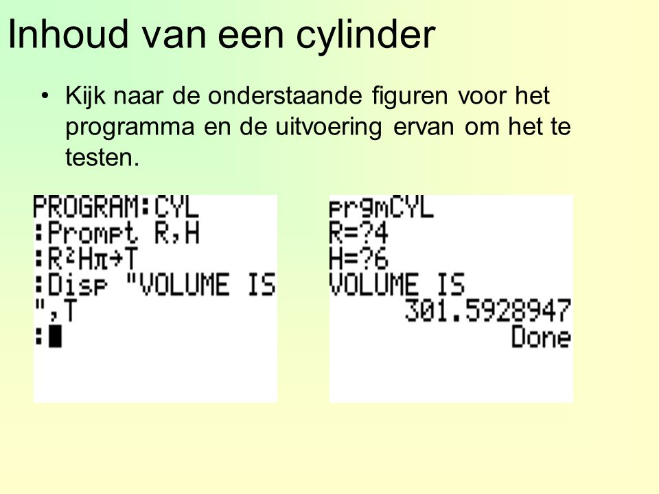 Inhoud van een cylinder