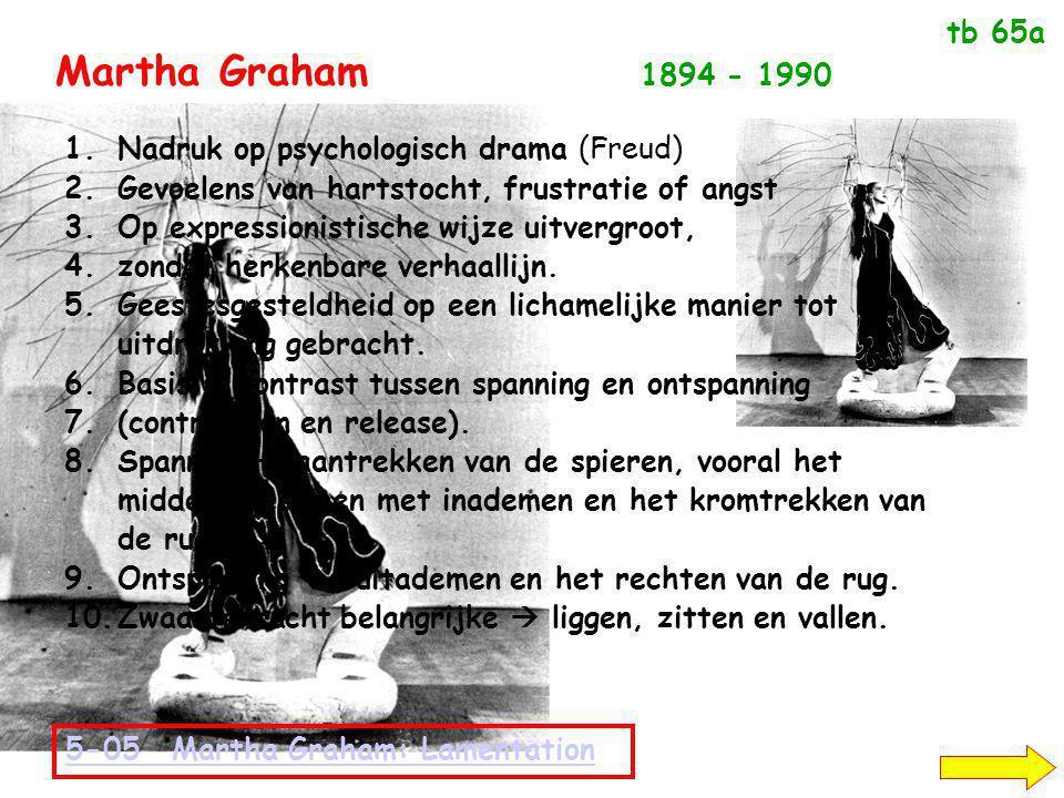 Martha Graham 1894 - 1990 tb 65a Nadruk op psychologisch drama (Freud)