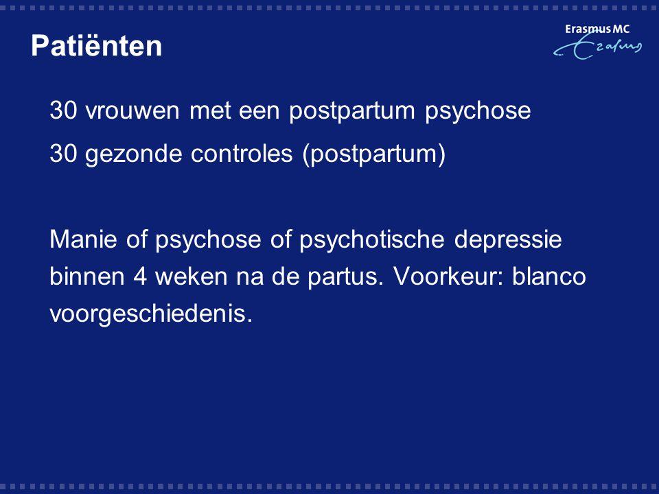 Patiënten 30 vrouwen met een postpartum psychose