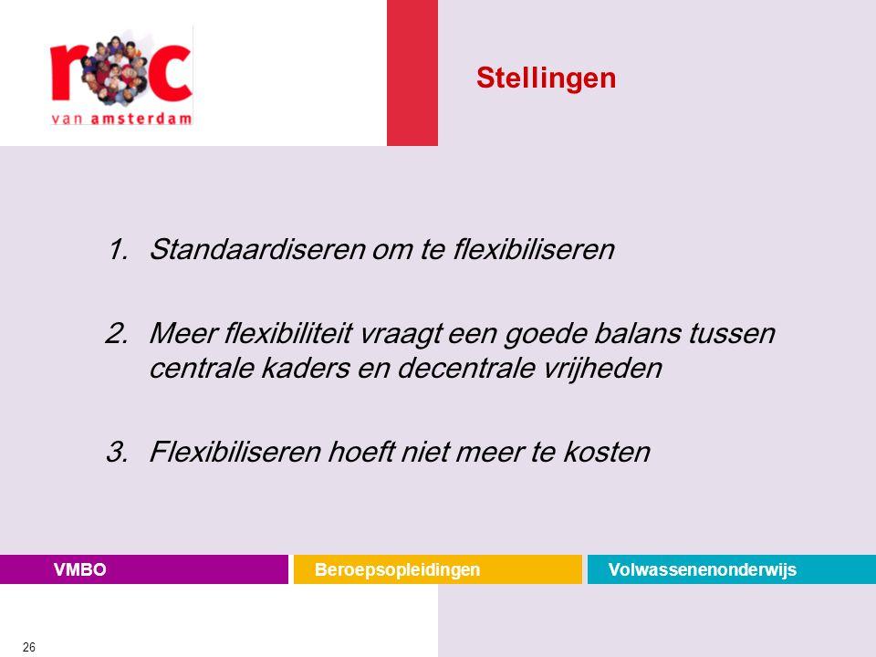Stellingen Standaardiseren om te flexibiliseren. Meer flexibiliteit vraagt een goede balans tussen centrale kaders en decentrale vrijheden.