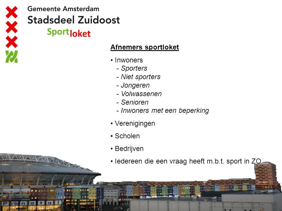 Afnemers sportloket Inwoners - Sporters - Niet sporters - Jongeren - Volwassenen - Senioren - Inwoners met een beperking.