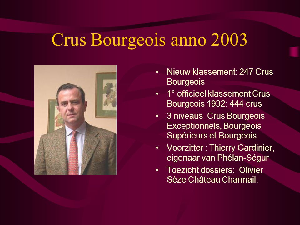 Crus Bourgeois anno 2003 Nieuw klassement: 247 Crus Bourgeois