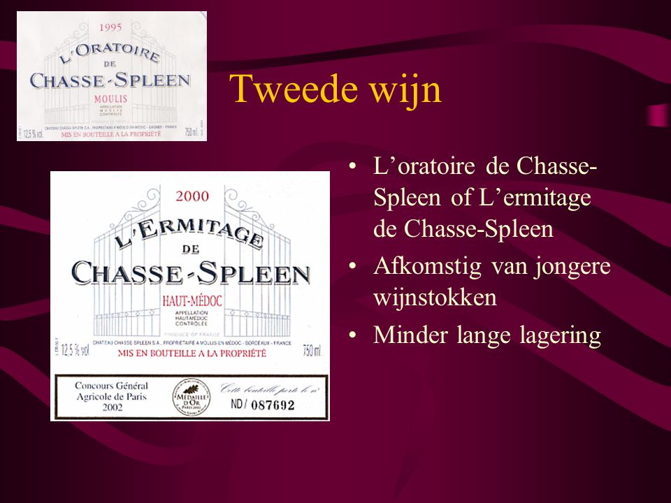 Tweede wijn L'oratoire de Chasse-Spleen of L'ermitage de Chasse-Spleen