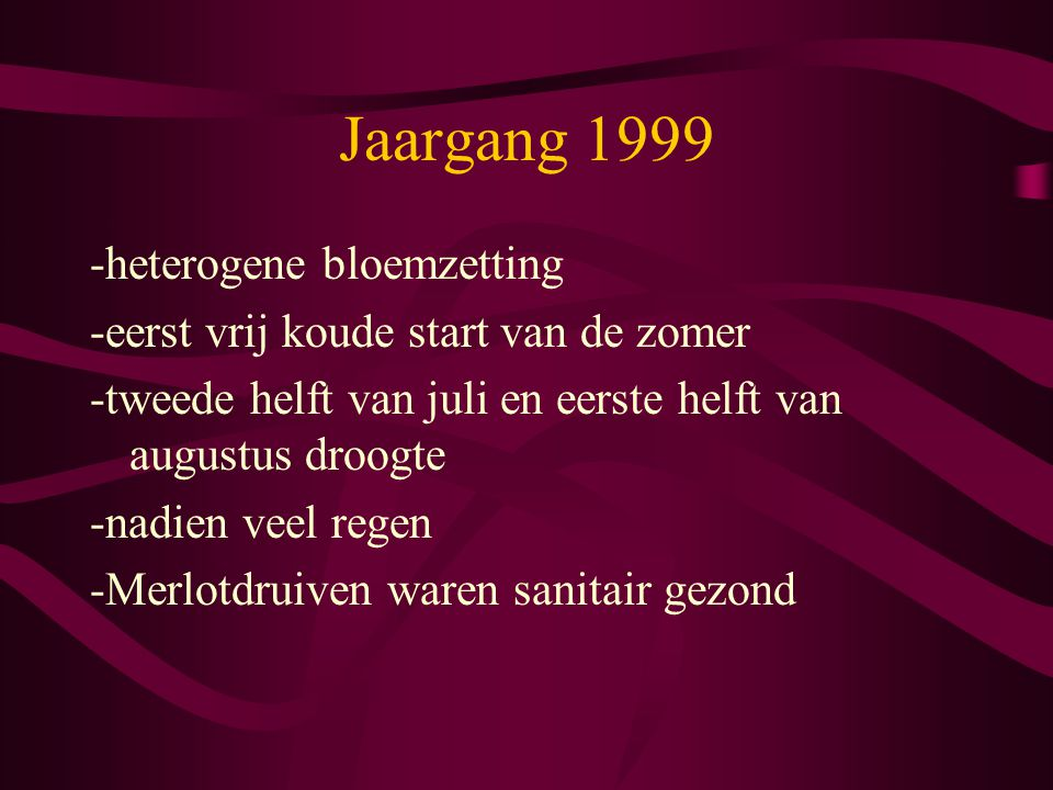 Jaargang 1999 -heterogene bloemzetting