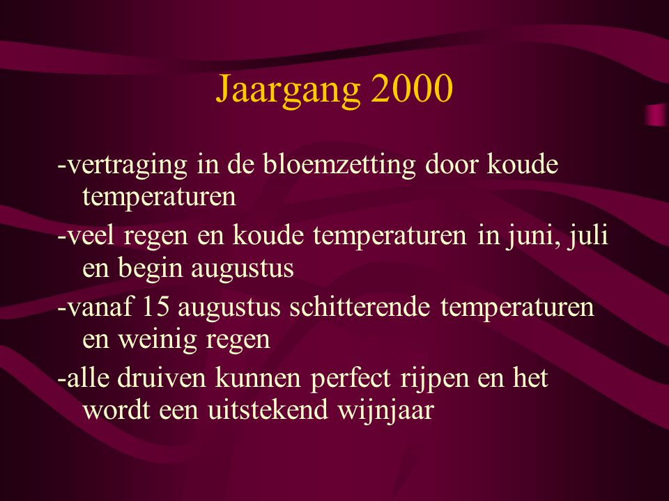 Jaargang 2000 -vertraging in de bloemzetting door koude temperaturen