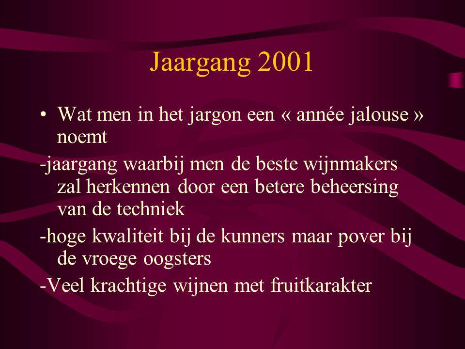 Jaargang 2001 Wat men in het jargon een « année jalouse » noemt