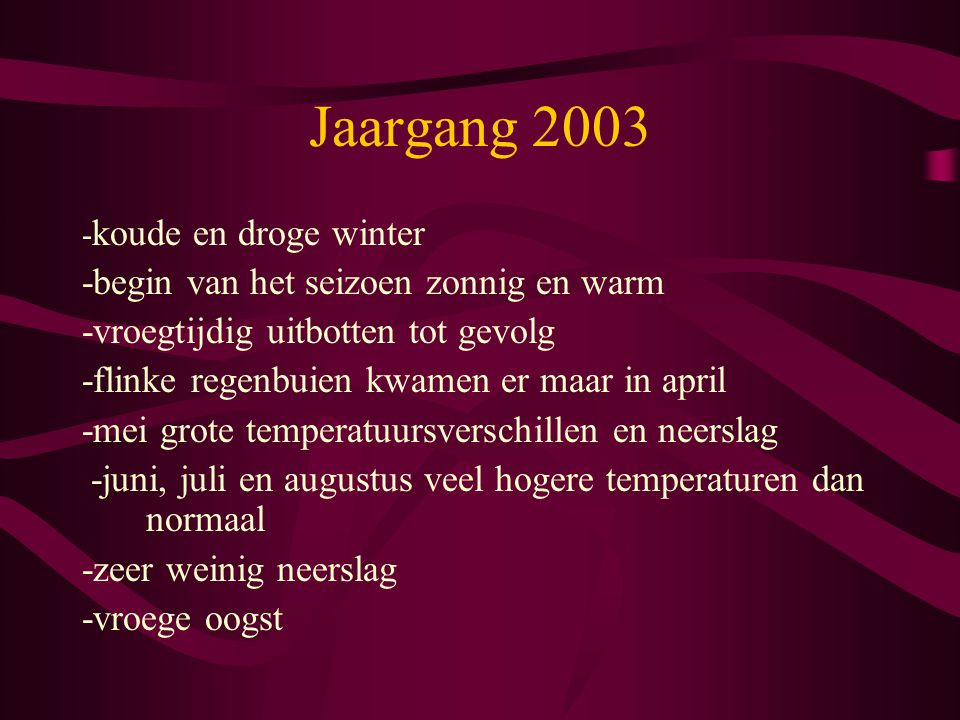 Jaargang 2003 -begin van het seizoen zonnig en warm