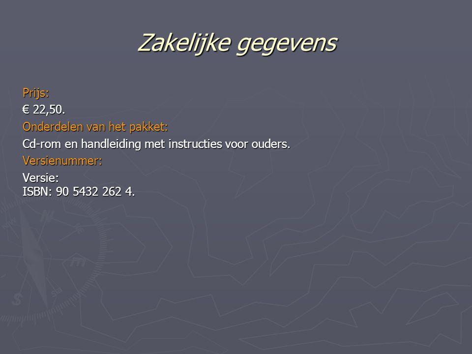 Zakelijke gegevens Prijs: € 22,50. Onderdelen van het pakket: