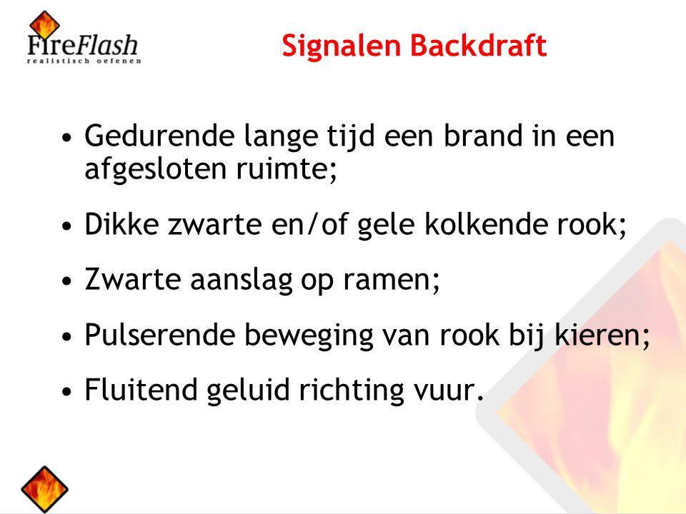 Signalen Backdraft Gedurende lange tijd een brand in een afgesloten ruimte; Dikke zwarte en/of gele kolkende rook;