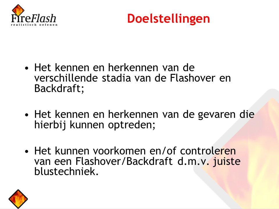 Doelstellingen Het kennen en herkennen van de verschillende stadia van de Flashover en Backdraft;