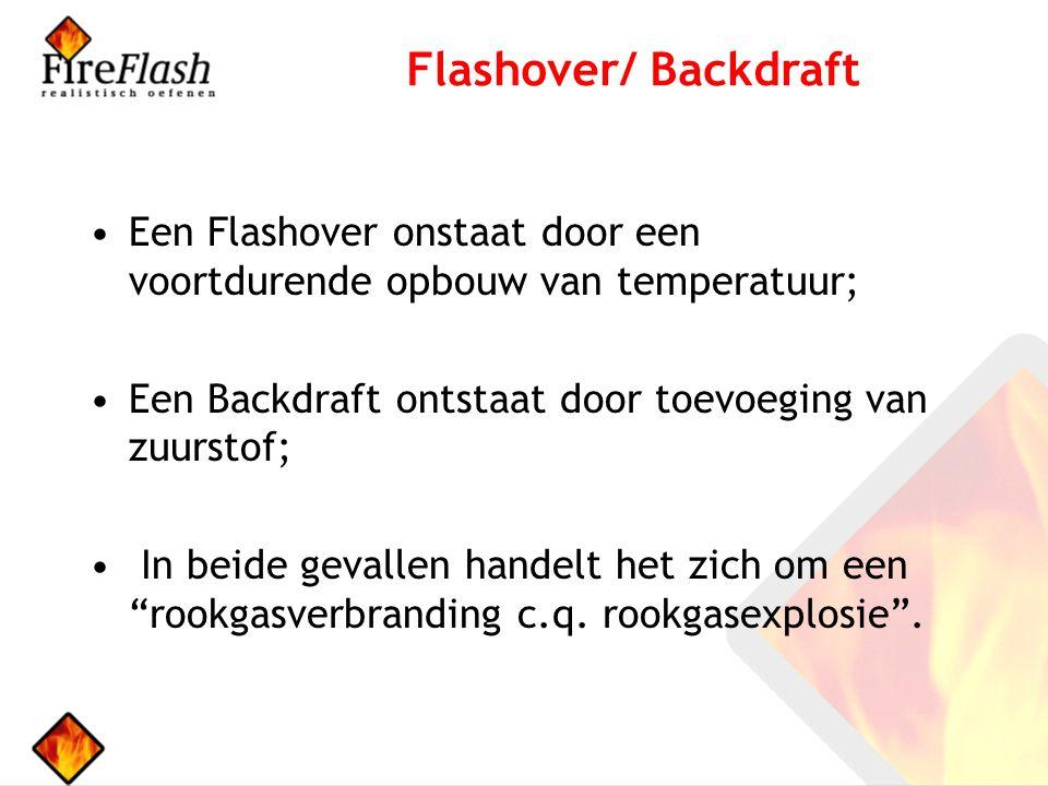 Flashover/ Backdraft Een Flashover onstaat door een voortdurende opbouw van temperatuur; Een Backdraft ontstaat door toevoeging van zuurstof;