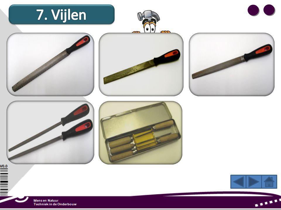 7. Vijlen Een rasp voor houtbewerking is een grofgetande vijl die wordt gebruikt om rondingen aan hout te maken.