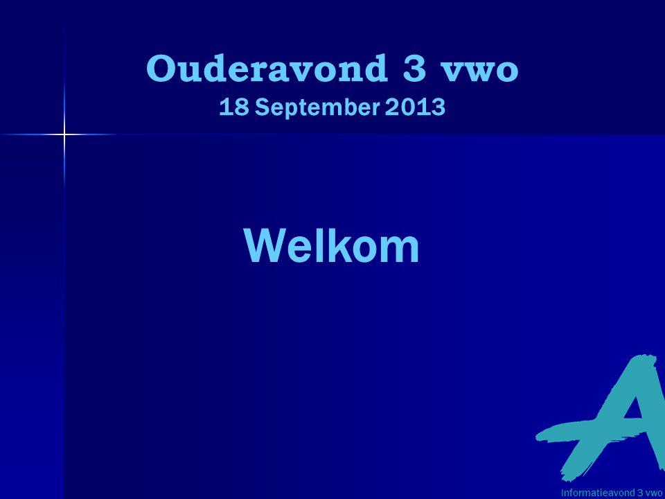 Ouderavond 3 vwo 18 September 2013