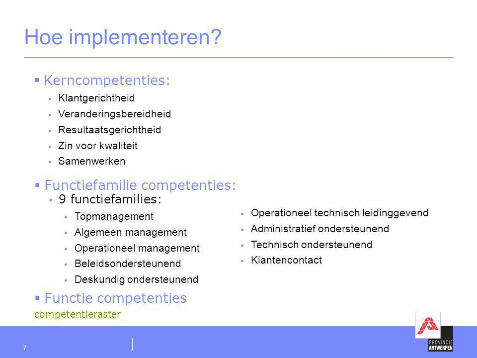 Hoe implementeren Kerncompetenties: Functiefamilie competenties: